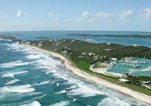 Arieal overview of surf breaks along Elbow Cay, in Abaco, Bahamas